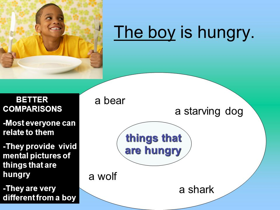 The boy is hungry. a bear a starving dog things that are hungry a wolf