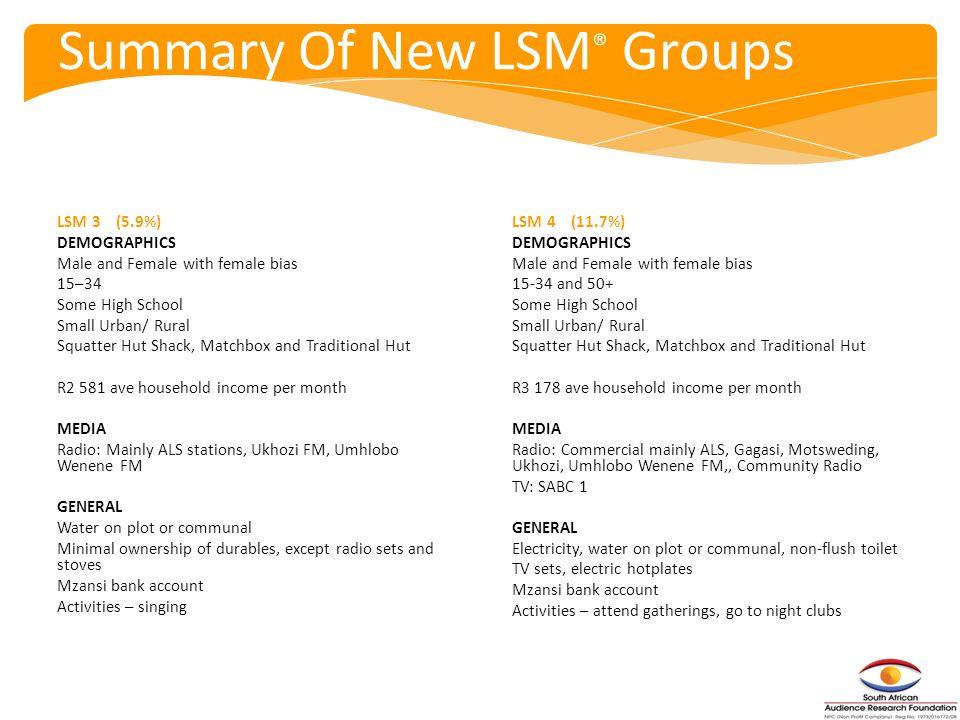Summary Of New LSM® Groups