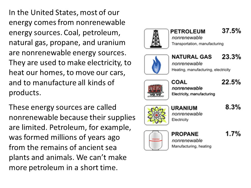 In the United States, most of our energy comes from nonrenewable energy sources. Coal, petroleum, natural gas, propane, and uranium are nonrenewable energy sources. They are used to make electricity, to heat our homes, to move our cars, and to manufacture all kinds of products.