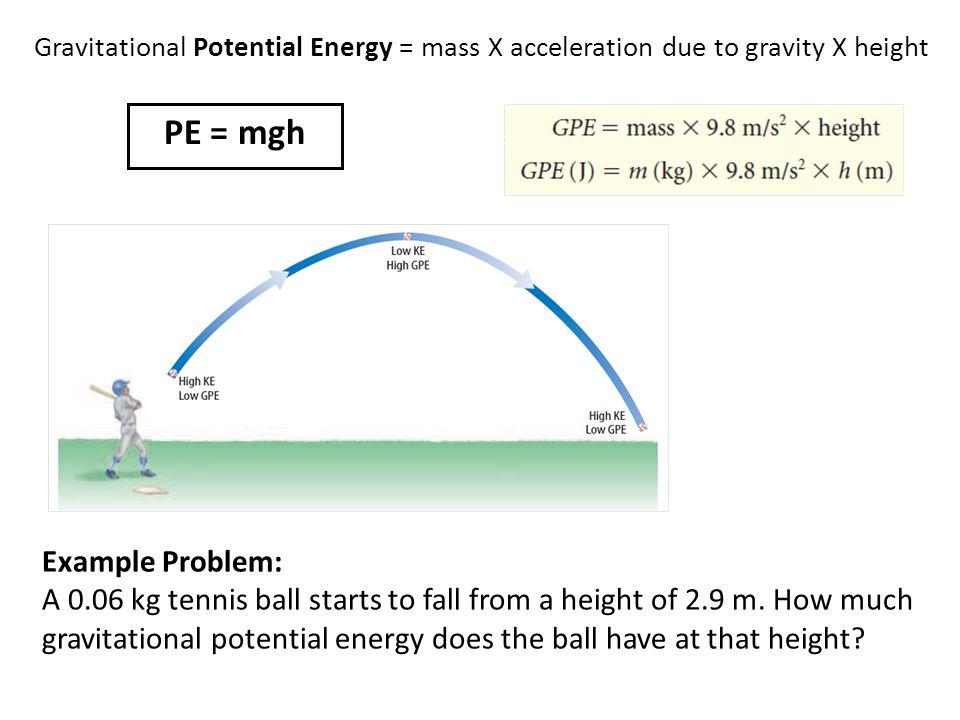 PE = mgh Example Problem: