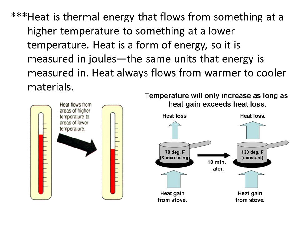 ***Heat is thermal energy that flows from something at a higher temperature to something at a lower temperature.