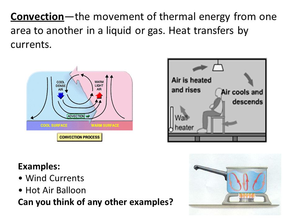 Convection—the movement of thermal energy from one area to another in a liquid or gas. Heat transfers by currents.