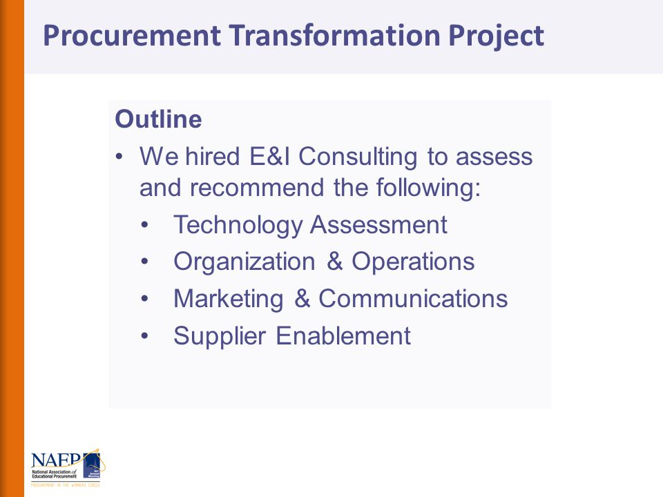 Procurement Transformation Project