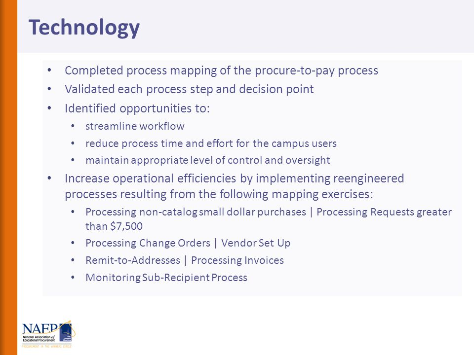 Technology Completed process mapping of the procure-to-pay process