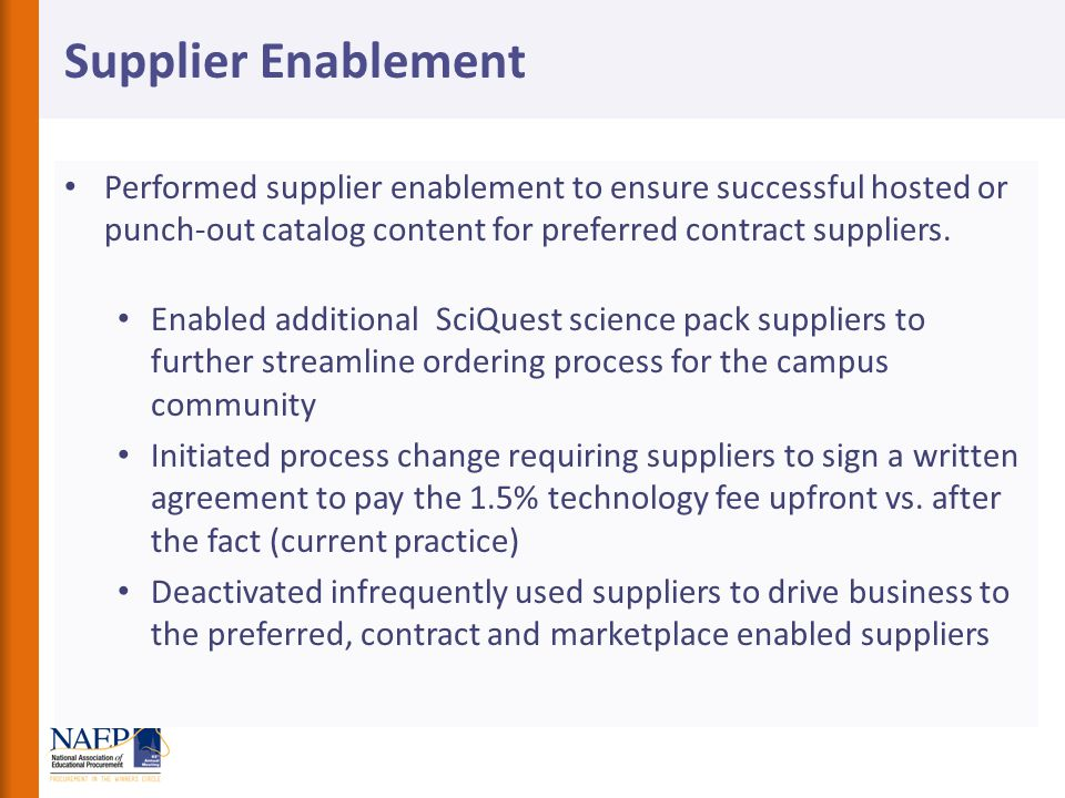 Supplier Enablement Performed supplier enablement to ensure successful hosted or punch-out catalog content for preferred contract suppliers.