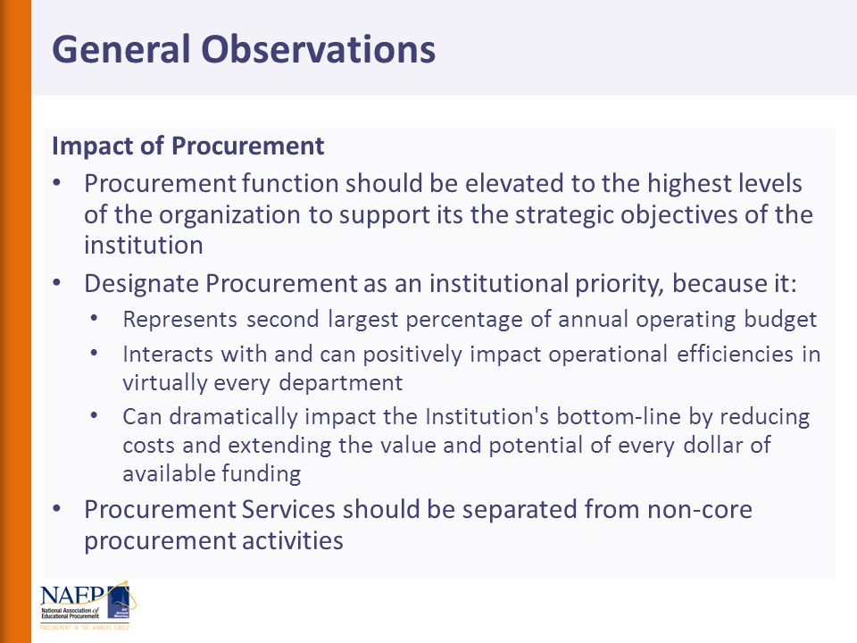 General Observations Impact of Procurement