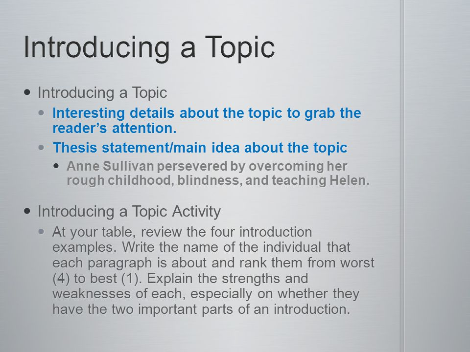 Introducing a Topic Introducing a Topic Introducing a Topic Activity