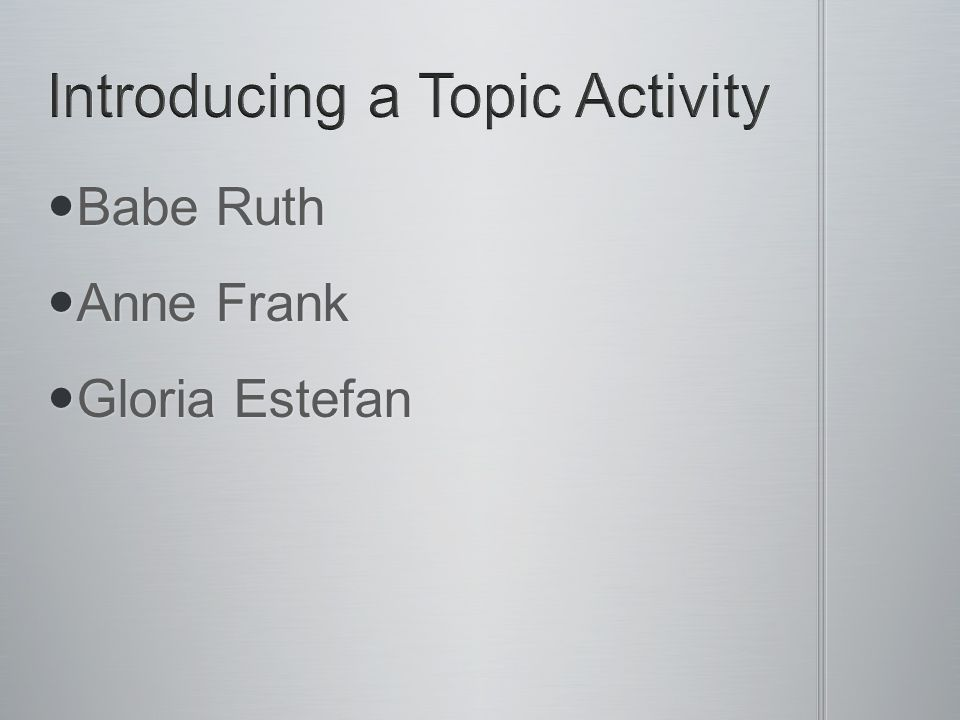 Introducing a Topic Activity