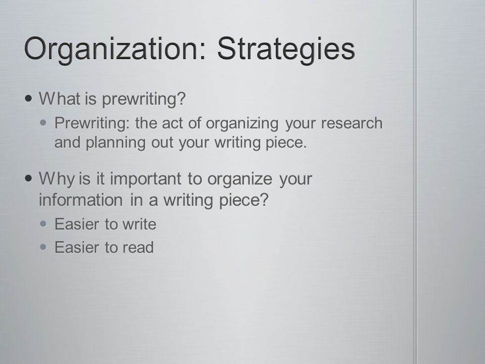 Organization: Strategies