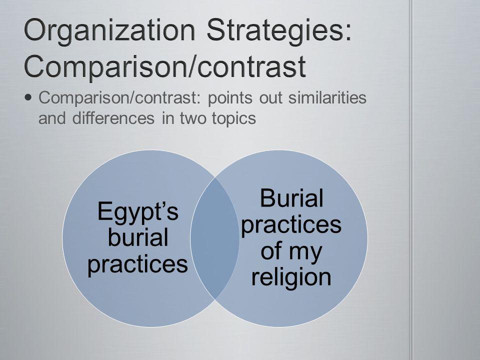 Organization Strategies: Comparison/contrast