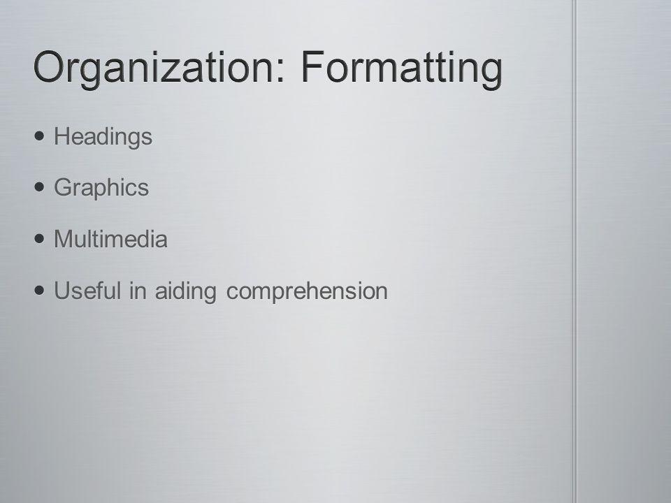 Organization: Formatting
