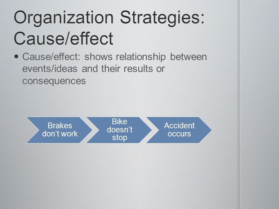 Organization Strategies: Cause/effect