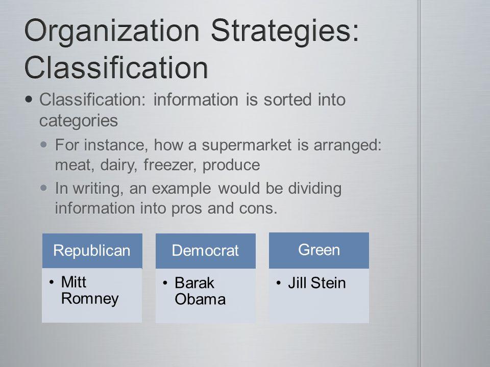 Organization Strategies: Classification