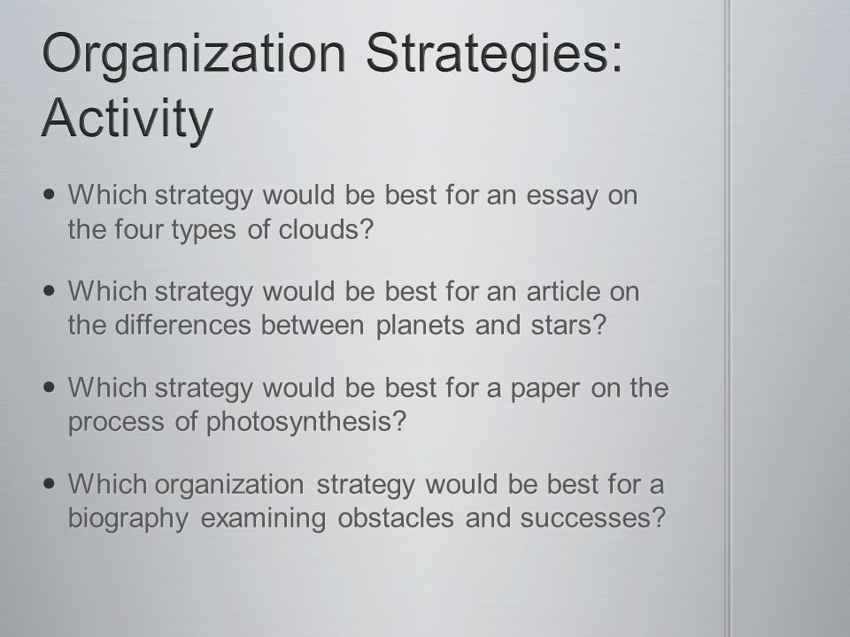 Organization Strategies: Activity