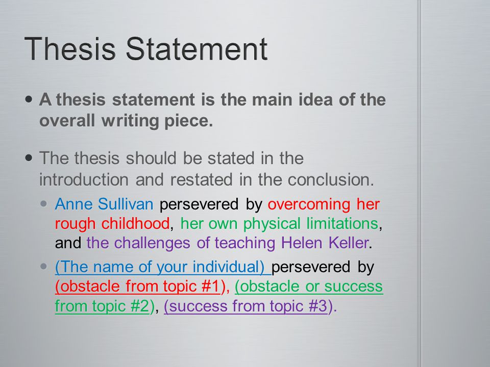 overall thesis statement