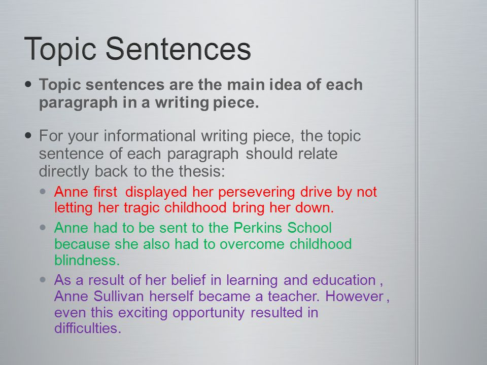 Topic Sentences Topic sentences are the main idea of each paragraph in a writing piece.