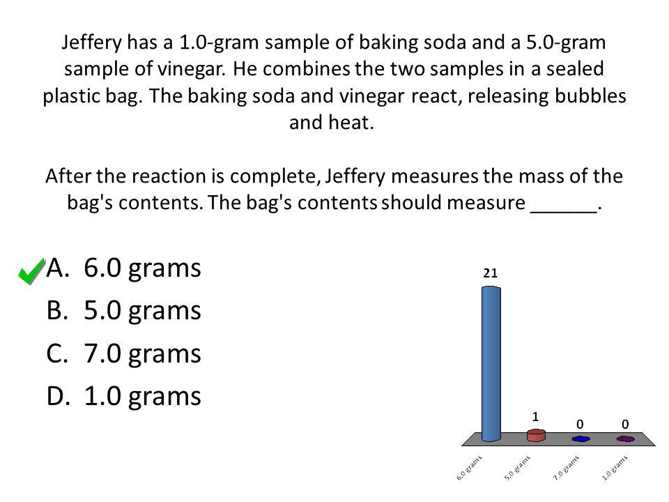 6.0 grams 5.0 grams 7.0 grams 1.0 grams
