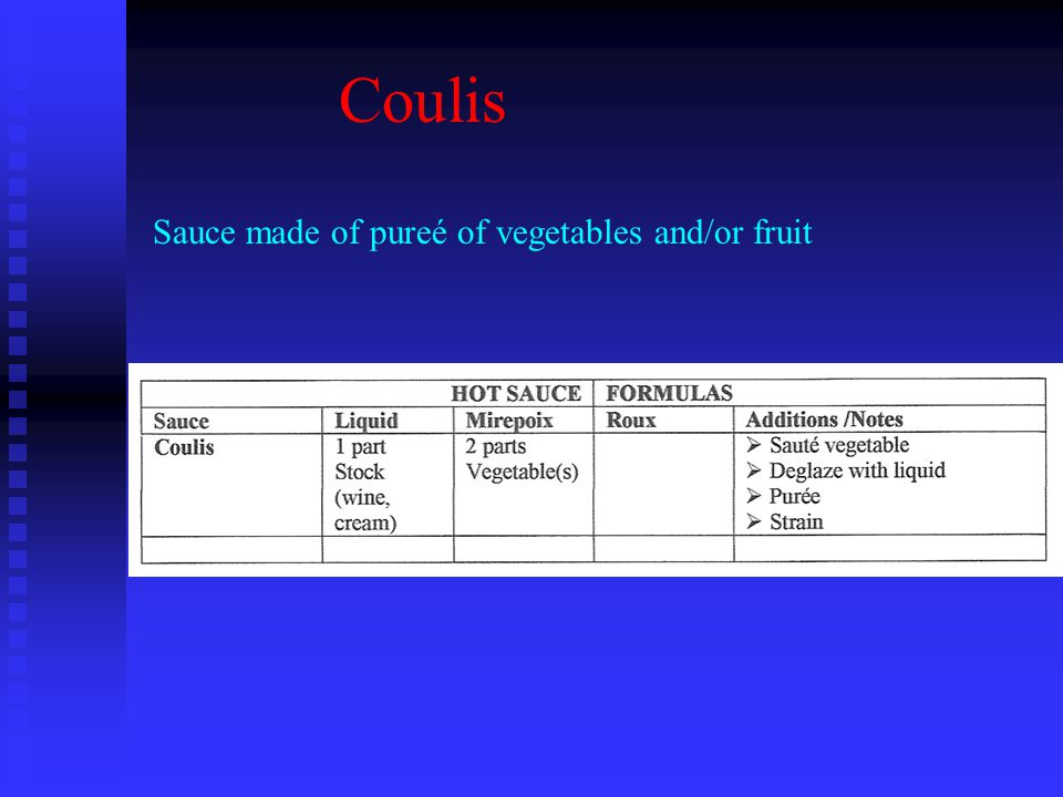 Coulis Sauce made of pureé of vegetables and/or fruit