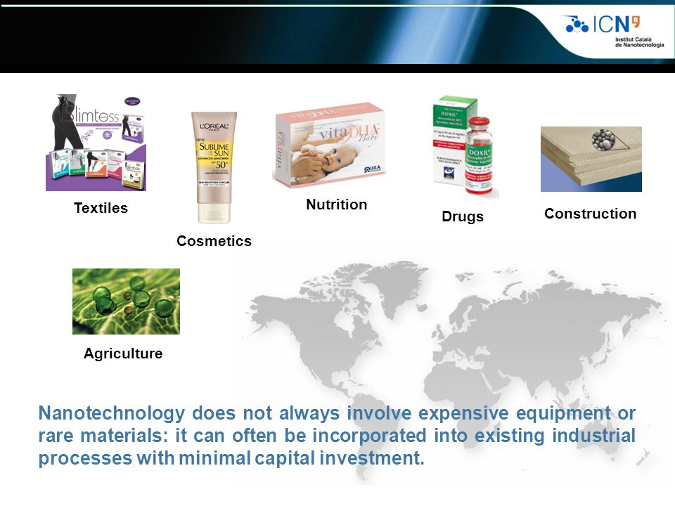 Textiles Nutrition. Drugs. Construction. Cosmetics. Agriculture.