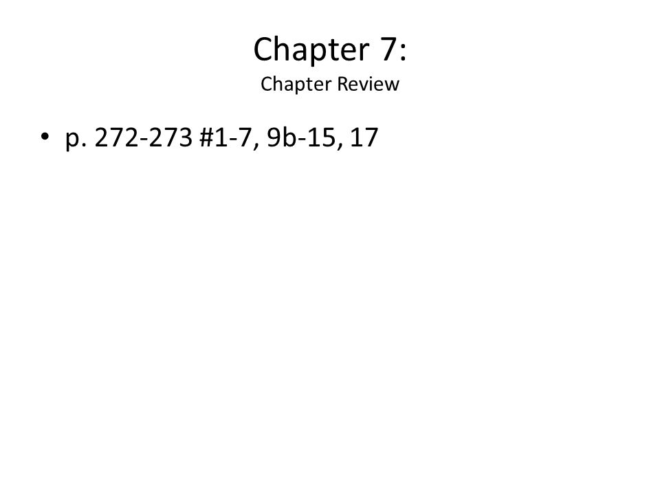 Chapter 7: Chapter Review