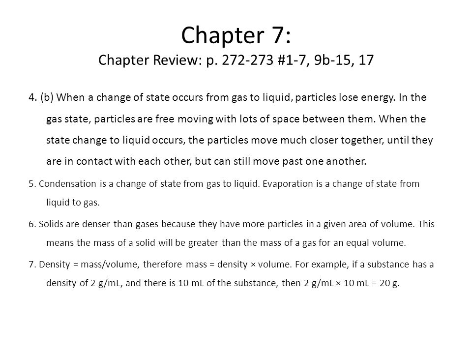 Chapter 7: Chapter Review: p. 272-273 #1-7, 9b-15, 17