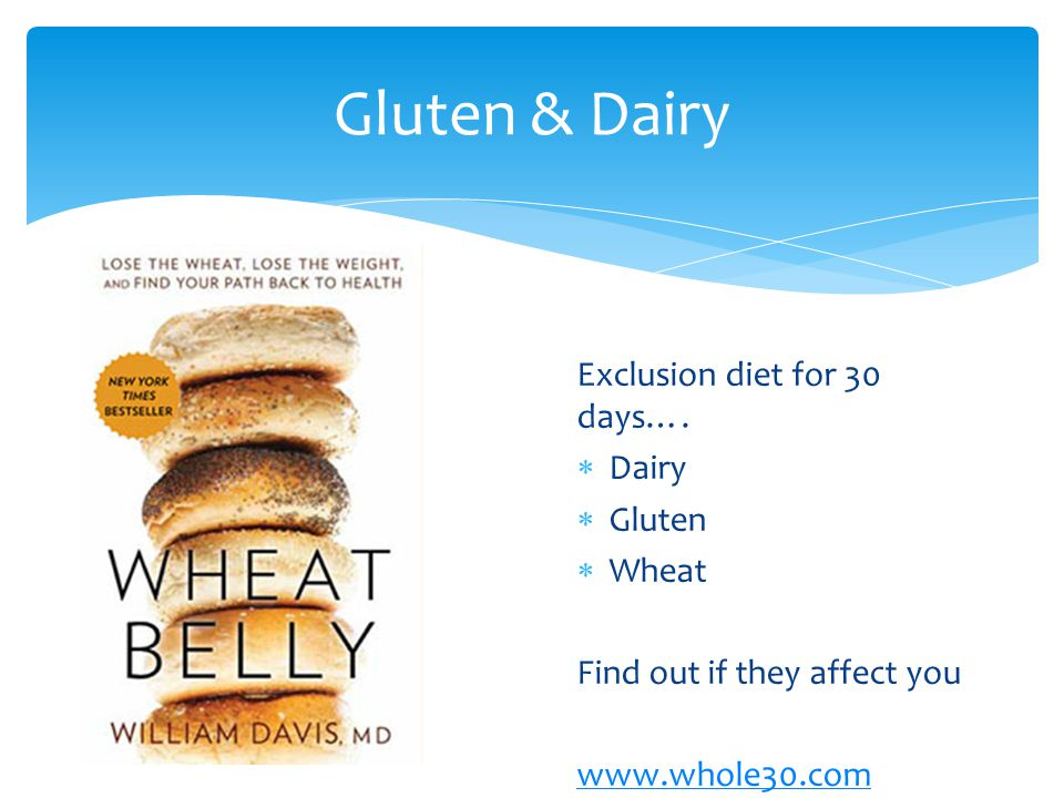 Gluten & Dairy Exclusion diet for 30 days…. Dairy Gluten Wheat