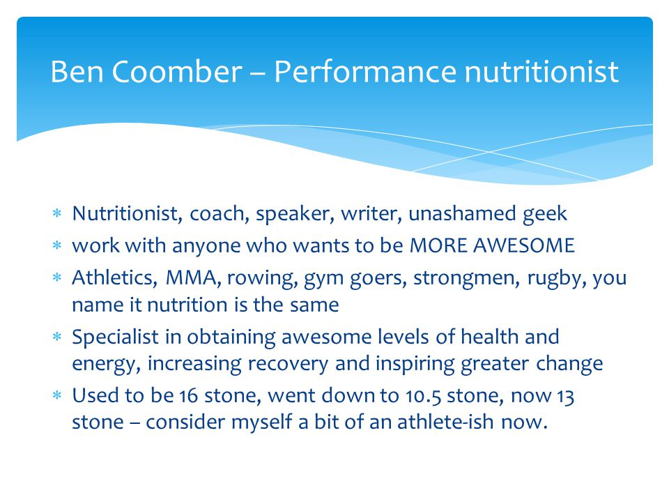 Ben Coomber – Performance nutritionist