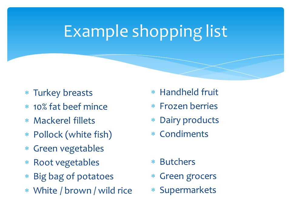 Example shopping list Handheld fruit Frozen berries Turkey breasts