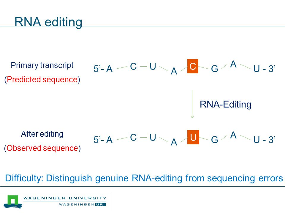 Difficulty: Distinguish genuine RNA-editing from sequencing errors