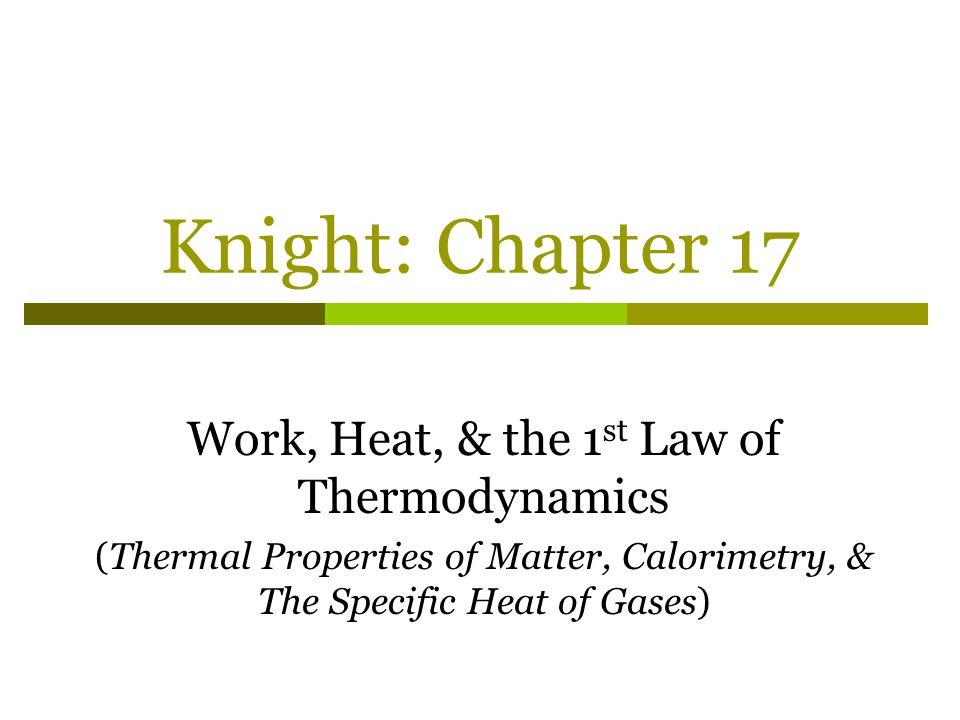 Work, Heat, & the 1st Law of Thermodynamics
