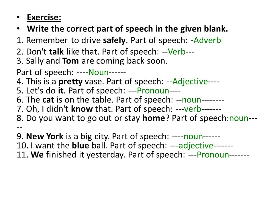 Exercise: Write the correct part of speech in the given blank. 1. Remember to drive safely. Part of speech: -Adverb.