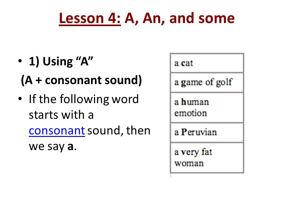 Lesson 4: A, An, and some 1) Using A (A + consonant sound)
