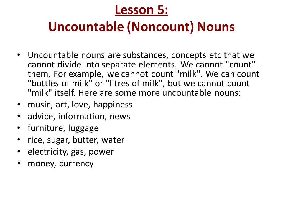 Lesson 5: Uncountable (Noncount) Nouns