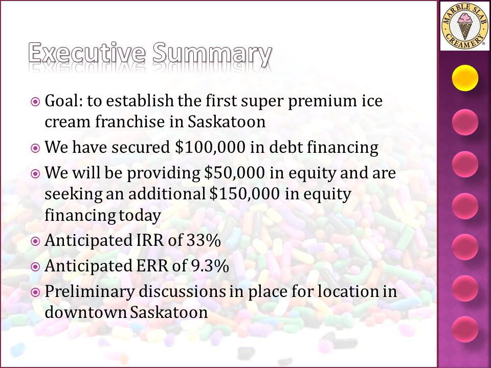 Executive Summary Goal: to establish the first super premium ice cream franchise in Saskatoon. We have secured $100,000 in debt financing.