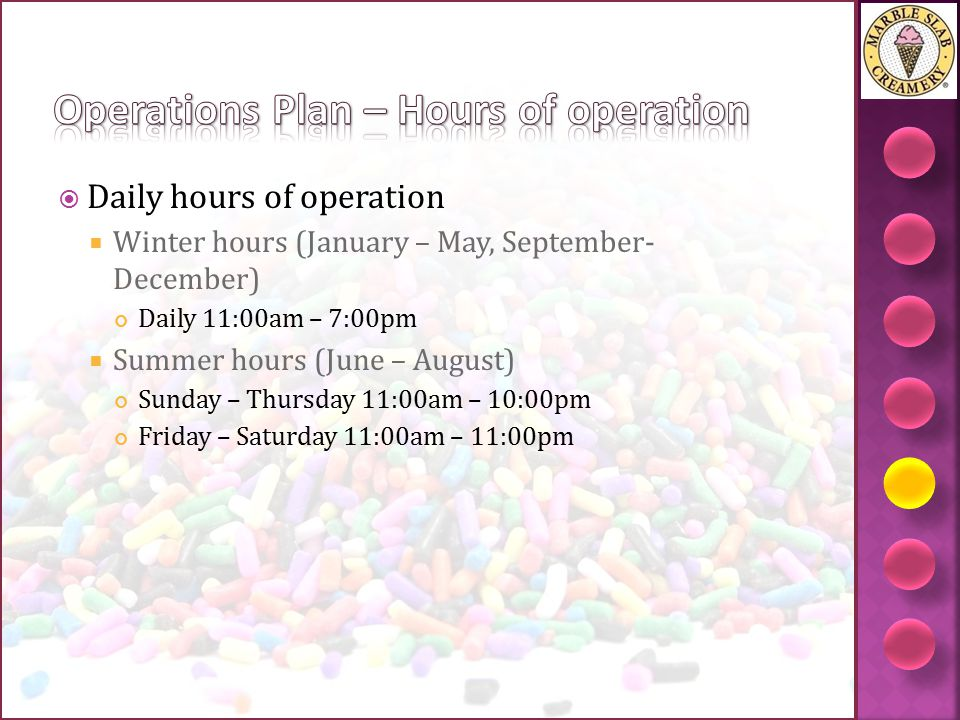 Operations Plan – Hours of operation