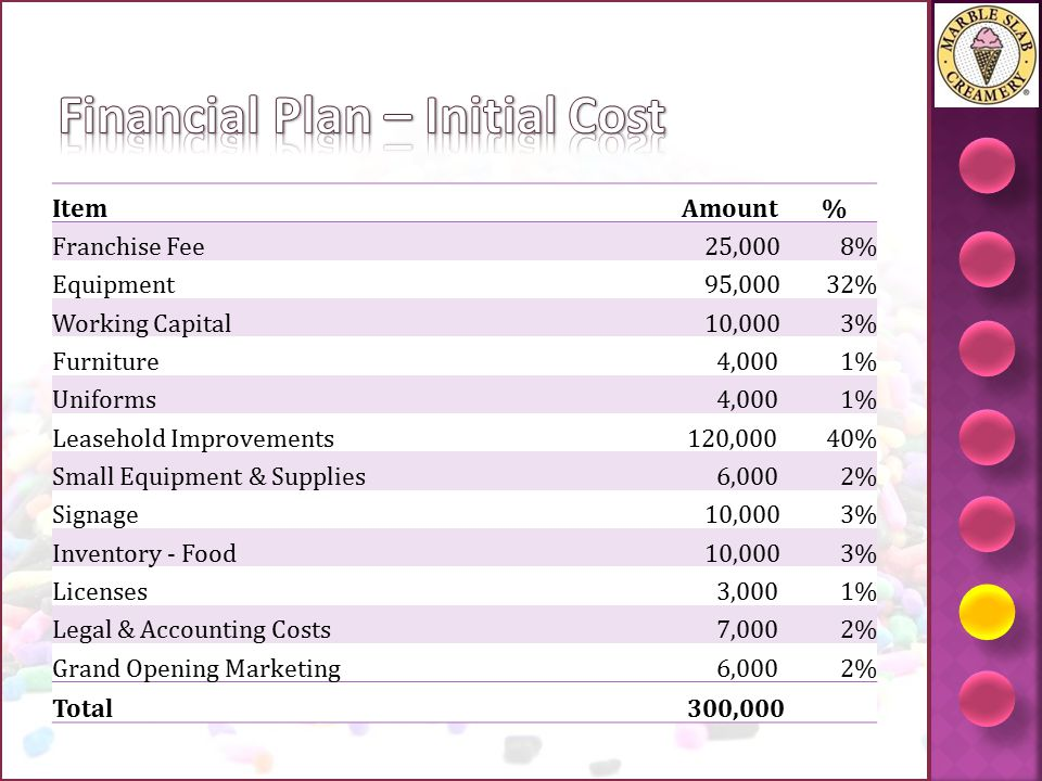 Financial Plan – Initial Cost