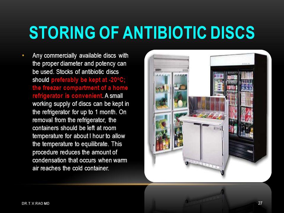Storing of antibiotic discs