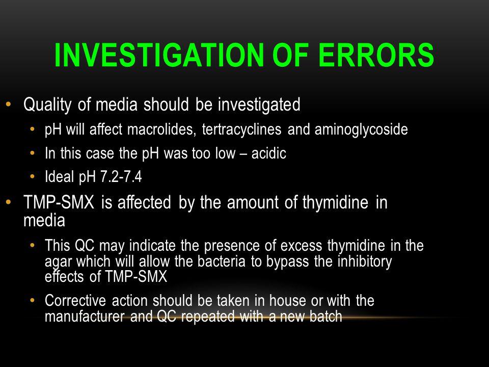 Investigation of errors