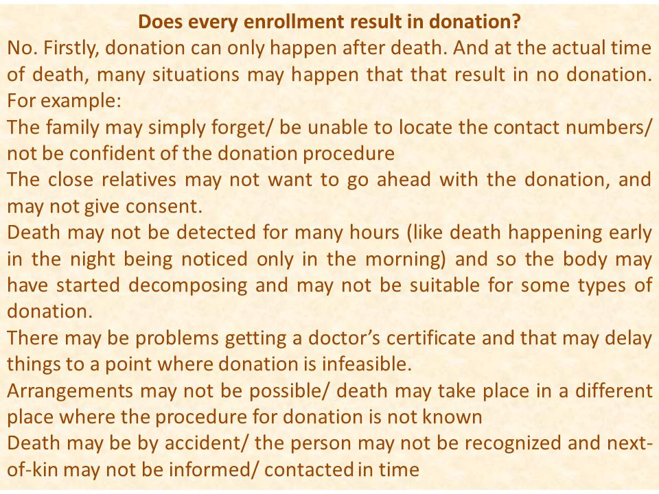 Does every enrollment result in donation