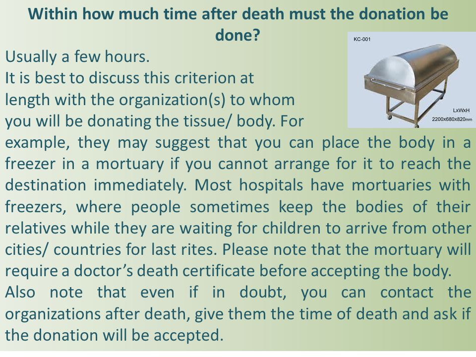 Within how much time after death must the donation be done