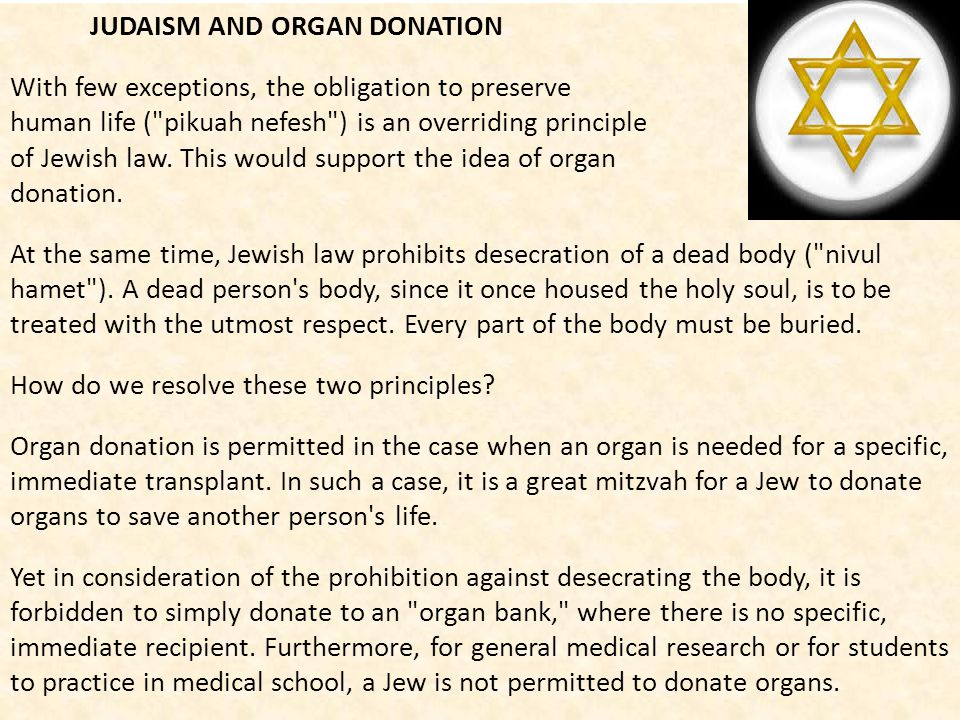 JUDAISM AND ORGAN DONATION
