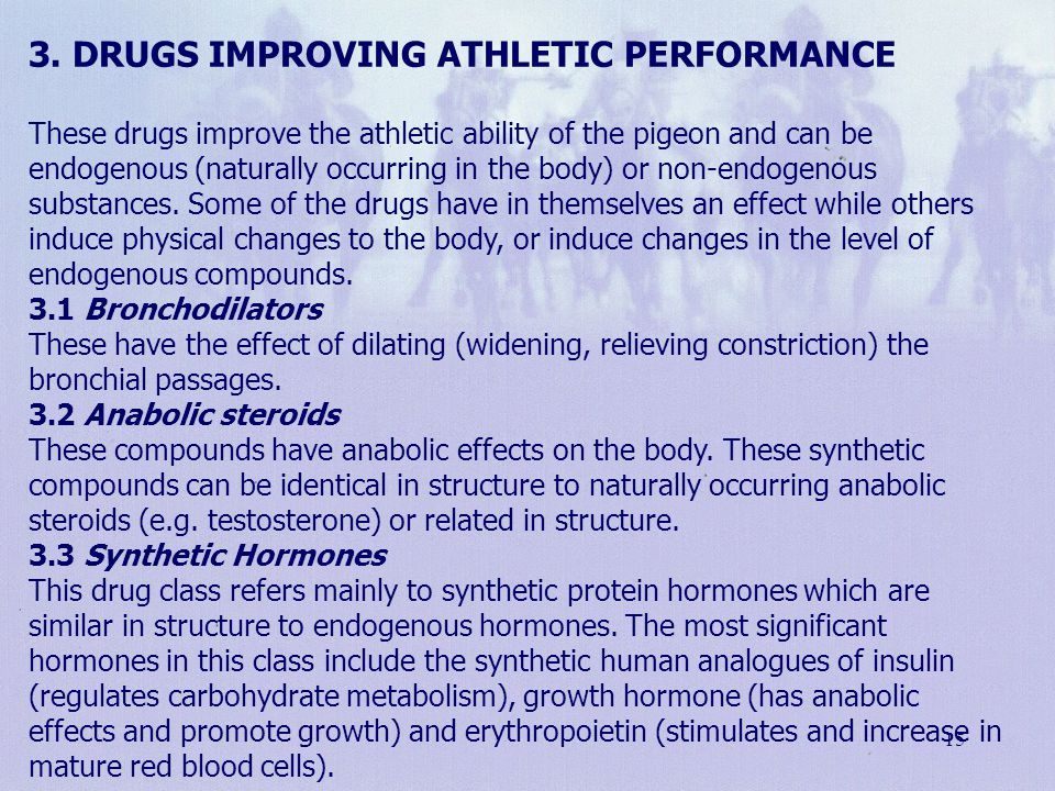 3. Drugs improving athletic performance