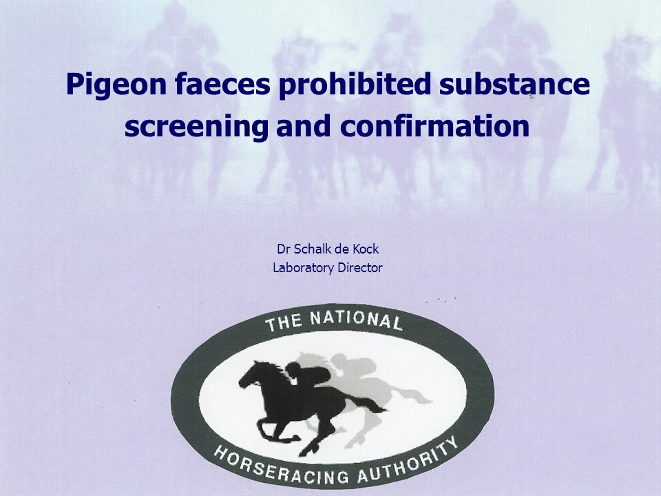 Pigeon faeces prohibited substance screening and confirmation Dr Schalk de Kock