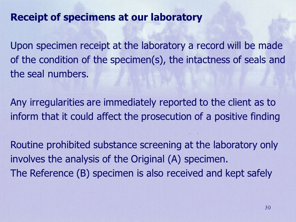 Receipt of specimens at our laboratory