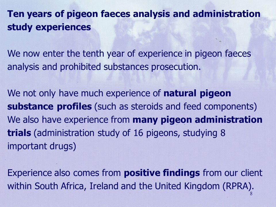 Ten years of pigeon faeces analysis and administration study experiences We now enter the tenth year of experience in pigeon faeces analysis and prohibited substances prosecution. We not only have much experience of natural pigeon substance profiles (such as steroids and feed components) We also have experience from many pigeon administration trials (administration study of 16 pigeons, studying 8 important drugs) Experience also comes from positive findings from our client within South Africa, Ireland and the United Kingdom (RPRA).