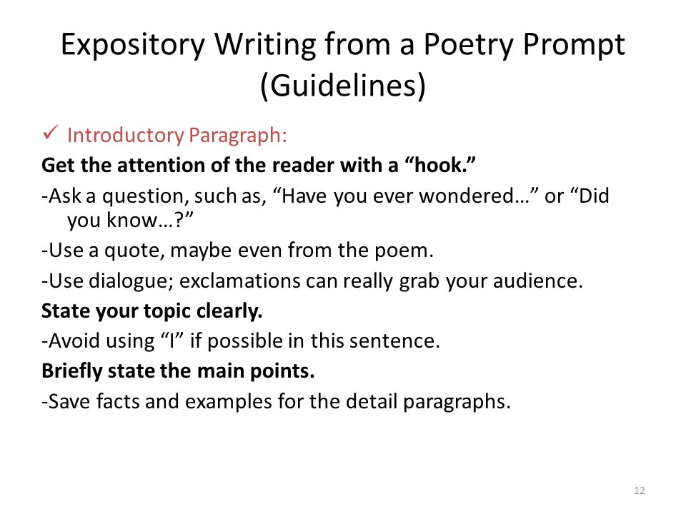 expository poetry essays Why teaching poetry is so important  in an education landscape that dramatically deemphasizes creative expression in favor of expository writing and prioritizes the analysis of non-literary .
