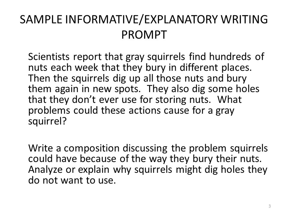 SAMPLE INFORMATIVE/EXPLANATORY WRITING PROMPT