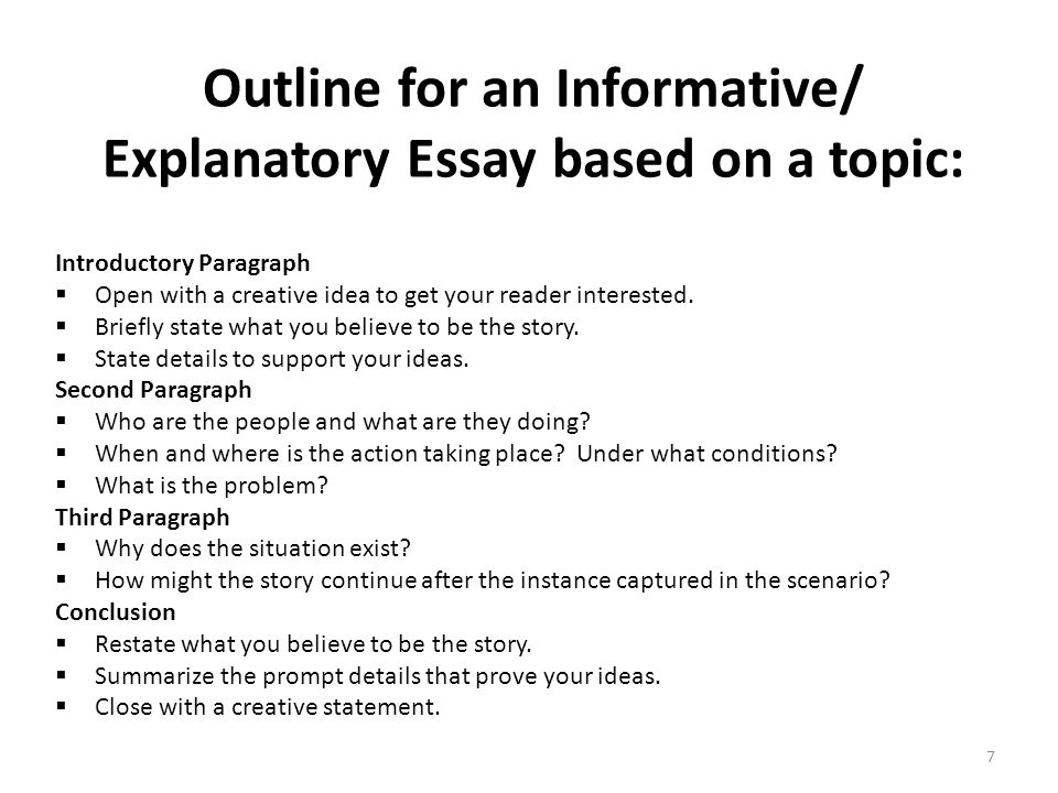 Outline for an Informative/ Explanatory Essay based on a topic: