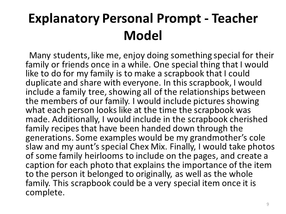 Explanatory Personal Prompt - Teacher Model