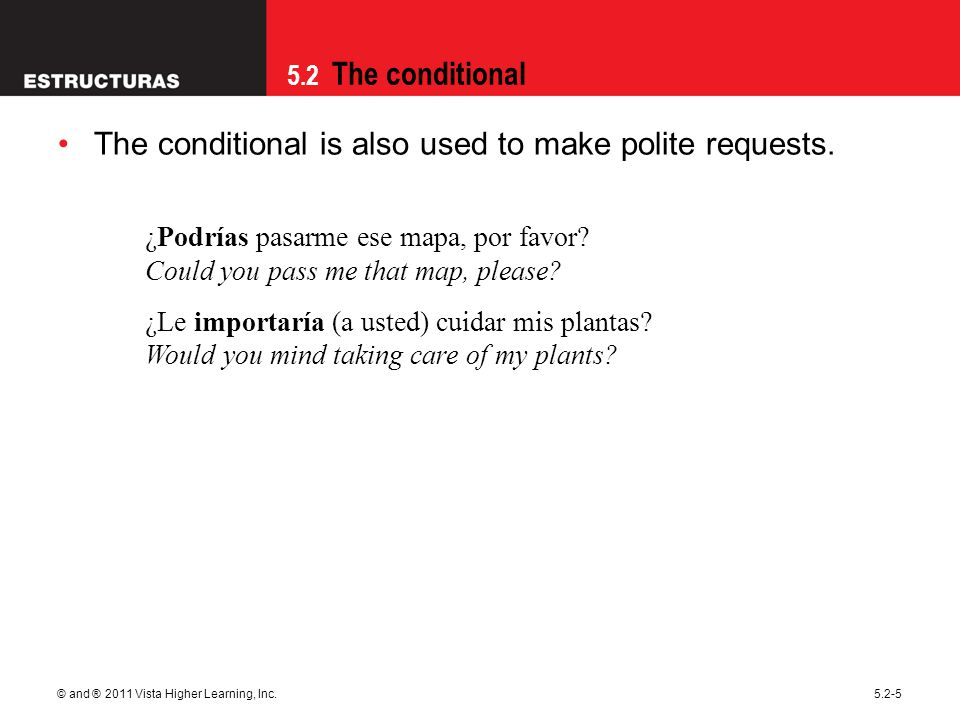 The conditional is also used to make polite requests.